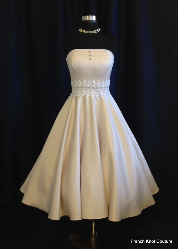 Tea Length Wedding Dress TINY BUBBLES, Satin Strapless