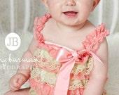 Petti Lace Romper,Baby girl Petti Romper, Petti Romper, Lace Romper, Romper, Coral and Green Lace Petti Romper, Bubble Romper.
