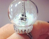 Eiffel Tower Ring - Paris Snowglobe Adjustable Ring - Miniature glass dome with stars