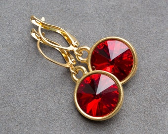 Gold Garnet Red Earrings, January Birthstone Garnet Jewelry, Dangles, Swarovski Crystal Drop Birthstone Earrings