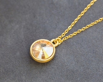 Gold November Citrine Necklace, Gold Birthstone Jewelry,  November Birthday Gift, Personalized Birthstone Necklace