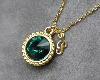 May Birthstone Emerald Necklace, Gold Custom Birthstone Jewelry, New Mother Gift, Initial Necklace, Emerald Jewelry
