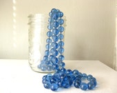 1960s Vintage Long Hand Knotted Blue Glass Flapper Bead Strand Necklace
