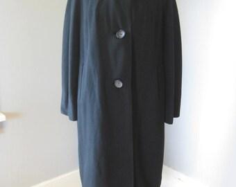 1950s Vintage Betty Rose Black Cashmere Coat, Mid Century, Long Coat, Winter Coat