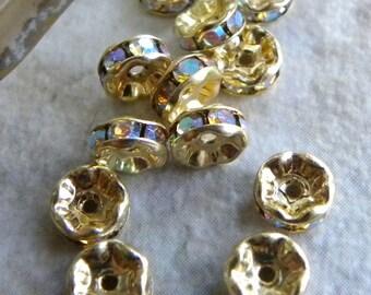 12 Crystal AB Czech Rhinestone Gold Rondelles, Bead Caps, 6mm Sparkly Aurora Borealis