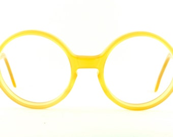 "Vintage Deadstock 80's Shady Character NYC ""Roundeye"" Butterscotch Eyeglass Frames Psychedelic"