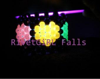 UV/Glow Rainbow Hearts Kandi Cuff Bracelet
