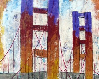 "FREEDOM, Original abstract Painting, Golden Gate Bridge , San Francisco, Wall Art Home Decor, Mixed media 26""x 31"", Free Shipping in USA."