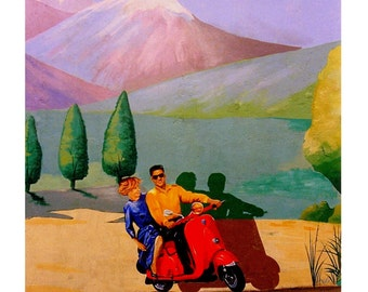 La Dolce Vita, Italian Vacation Red Vespa Scooter,Italy, Italia,Original Travel illustration, Artist Print Wall Art, Free Shipping in USA.
