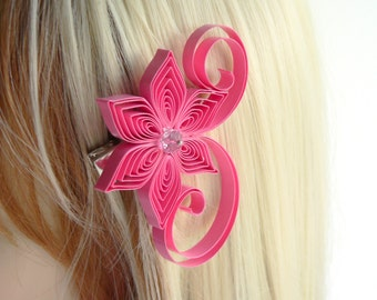 Pink Hair Flowers Wedding, Bubble Gum Pink Wedding Hair Clip, Bubble Gum Wedding Hair Accessory