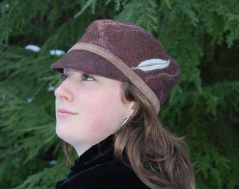Brown Felted Hat - Merino and Silk with Feather