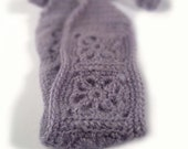 Crochet Headband, Boho Knit Hairband Fuzzy Lavender Acrylic, Wool, Mohair Mix