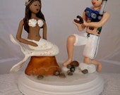 Mermaid and Scuba Diver Wedding Cake Topper CUSTOMIZED to your features Hand Sculpted in Clay