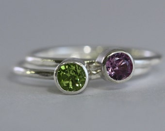 1 Gemstone Stacking Rings, 4mm birthstone,  Family & Mother's, Argentium Sterling Silver Skinny Rings, Custom made