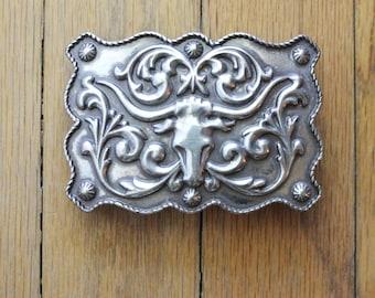 Vintage 90's Bull Horn Ornate Silver Cowby Belt Buckle