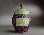 Pet Treat Jar Made To Order Green & Purple Wheel Thrown by Symmetrical Pottery