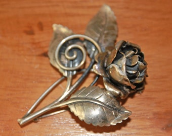 Vintage Sterling Silver Statement Brooch - Rose Bud - 1950s - Mid Century Brooch