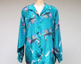 Vintage 1980s Blouse / 80s Diane Von Furstenberg Teal Art Deco Print Blouse / Medium