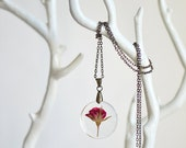 Mothers day jewelry red rose necklace, botanical jewelry, Pressed flower, romantic jewelry, gift for a woman, wife gift flower girl gift
