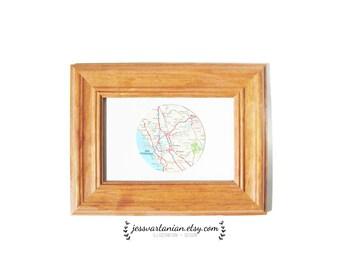 Custom Circle Map in a Light Oak Frame