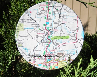 Custom Map Circle Christmas Ornament. You choose any Location In USA or World.
