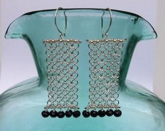 Long Silver Chain Black Onyx Fringe Earrings Beaded Rectangle Chainmaille Earrings Silver Black Statement Jewelry Unique Geometric Earring