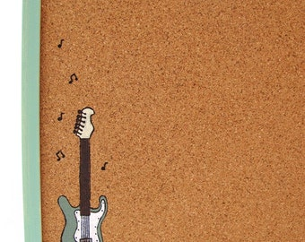 Cork Board  green message board with guitar, Bulletin Board, memo board, graduation gift
