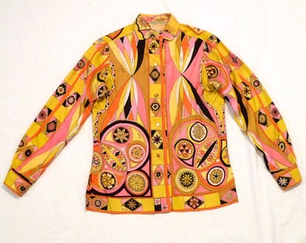 Emilio Pucci Blouse Pucci Shirt Psychedelic Butterfly Silk Top Vintage Original Tags Size 10 Authentic Italian Designer Mod