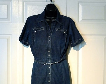 Denim Craftwear Dress Vintage Jeans Shirtwaist dress Embellished 1950s United Carr Southwest Patio Fashion Rockabilly Western New Mexico