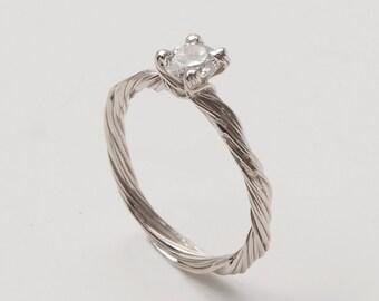 Twig Engagement Ring - 14K White Gold and Diamond engagement ring, engagement ring, leaf ring, filigree, antique, art nouveau, vintage, 3