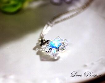 Let it Snow Frozen Winter Wedding - Snow Flake Swarovski Crystal adjustable Chain Necklace - Choose your color