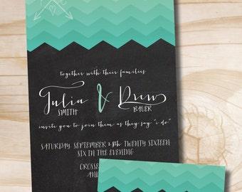 CHEVRON OMBRE Wedding Invitation/Response Card Invitation Suite