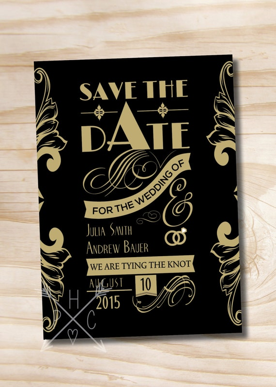 art deco gatsby save the date wedding invite printable digital file or printed invitations by. Black Bedroom Furniture Sets. Home Design Ideas