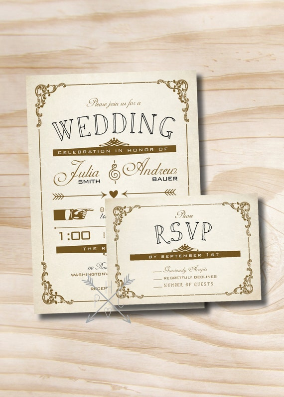 VINTAGE POSTER Style Rustic Wedding InvitationResponse Card – Wedding Invite Response Card