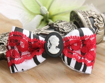 Hair Bow , Lady Cameo Hair Bow, Immortal Spirit Cameo Lace Hair Bow , Day of the Dead, Goth, Handmade By: Tranquilityy