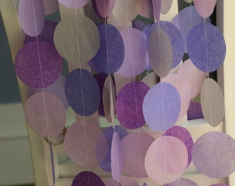 Tissue Paper Garland, Party Garland, Birthday Garland, Wedding Garland, Purple Garland- Purple Hues