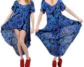 Vintage 80s Dress / Floral Print Fishtail Dress / Upcycled Bohemian Festival Dress / Sheer Gauze Babydoll Mini Dress S / M / Small / Medium