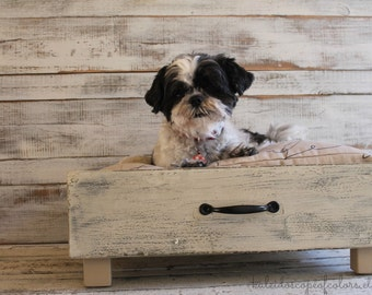 SALE Natural Cream and Script Vintage Wood Drawer Pet Bed