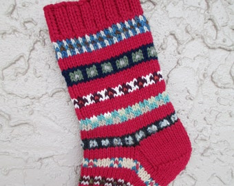 Hand knit Christmas stocking rose red #4 with FREE US Shipping