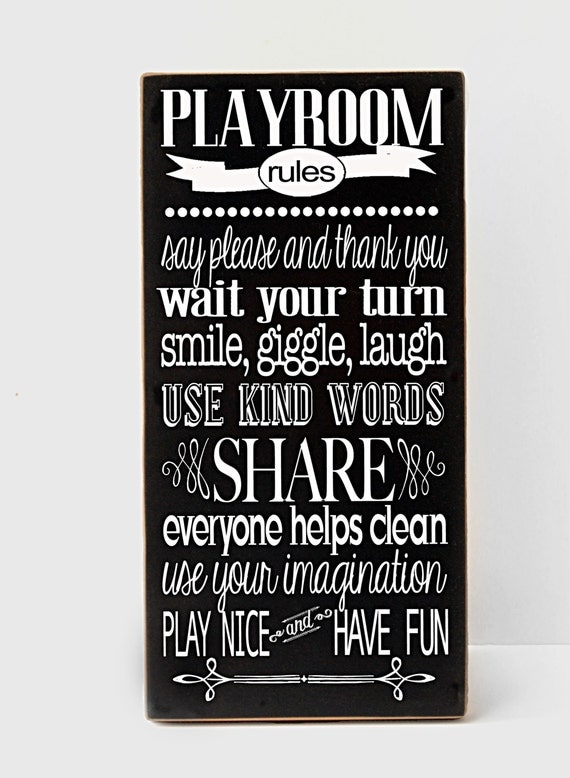 Playroom Rules Wood Sign Playroom Decor Child S By Vinylcrafts