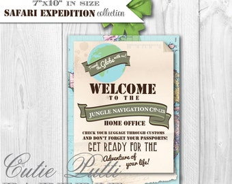 Safari Party, Jungle Safari Party - PRINTABLE DOOR SIGN Welcome Sign- Cutie Putti Paperie