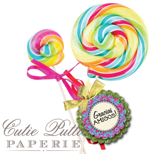 "Mexican Fiesta Party Favor Tags 2""x 2"" by Cutie Putti Paperie"