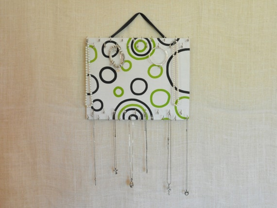 ULTIMATE JEWELRY ORGANIZER-Medium- Green and Black Circles-11x14 inches, 38 Large Hooks
