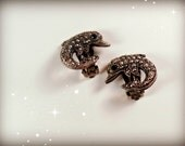 Vintage Marcasite Silver Dolphin Clip On Earrings