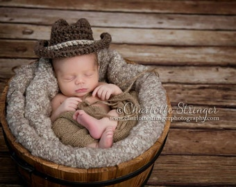 Little Mr Cowboy Hat in Barley and Oatmeal Available in 0-3 Month Size- MADE TO ORDER