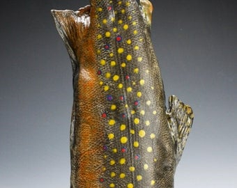 Large Porcelain Brook Trout Vessel  ( Nature as Objects)