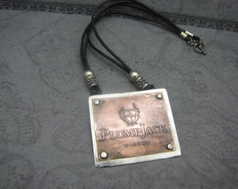 Sterling Silver and Copper Etched Wine Label Necklace