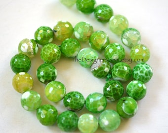 Large Multi Color Lime Green and White Fire Agate Faceted Rounds 12mm -1/2 STRAND
