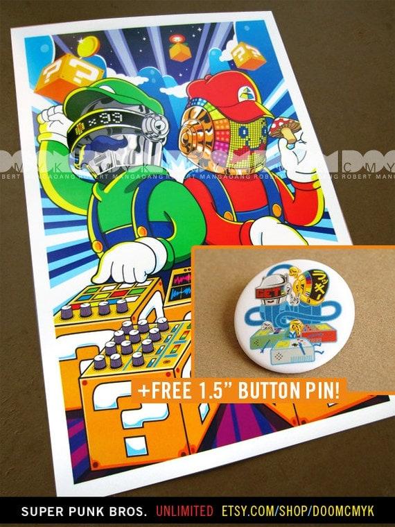 Super Punk Bros 11x17 fan art poster