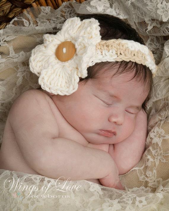 Crocheted Baby Headband - 100% Cotton - Beige - Newborn